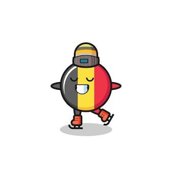 Caricature d'insigne de drapeau belge en tant que joueur de patinage sur glace faisant des performances, design de style mignon pour t-shirt, autocollant, élément de logo