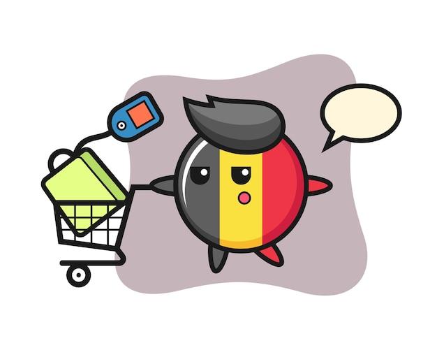 Caricature d'insigne drapeau belgique avec un panier