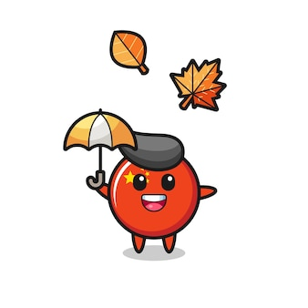 Caricature de l'insigne du drapeau chinois mignon tenant un parapluie en automne, design de style mignon pour t-shirt, autocollant, élément de logo