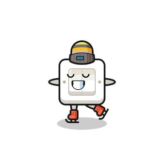 Caricature d'interrupteur d'éclairage en tant que joueur de patinage sur glace faisant des performances, design de style mignon pour t-shirt, autocollant, élément de logo