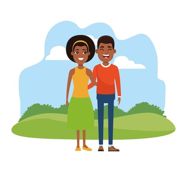 Caricature jeune couple