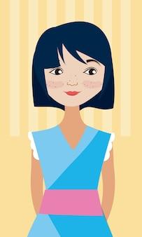 Caricature de jeune femme