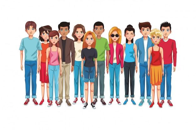 Caricature de jeunes amis