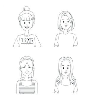 Caricature de jeunes filles