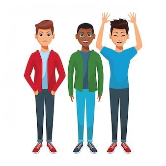 Caricature de jeunes hommes