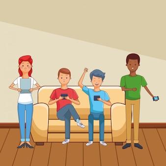 Caricature de jeunes occasionnels