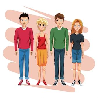 Caricature de jeunes