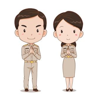Caricature de joli couple d'officiers du gouvernement thaïlandais