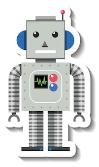 Caricature de jouet robot sur fond blanc