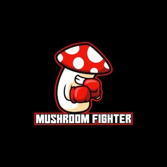 Caricature de joueur de boxe de combat de champignons