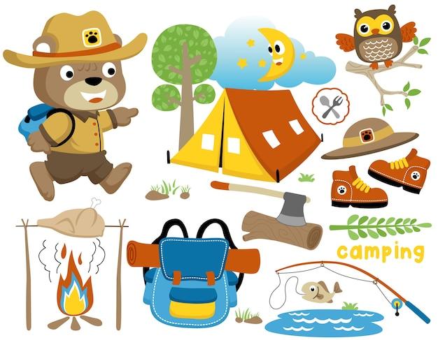 Caricature de jour de camping avec scout drôle, ensemble de matériel de camping
