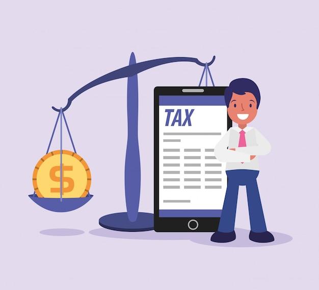 Caricature de jour de taxe homme d'affaires
