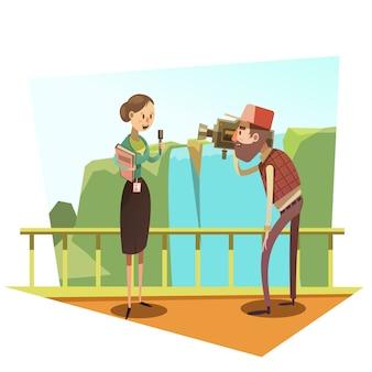 Caricature de journaliste rétro