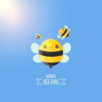 Caricature de la journée mondiale des abeilles avec des abeilles mignonnes