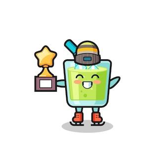 Caricature de jus de melon en tant que joueur de patinage sur glace tenant le trophée du vainqueur, design de style mignon pour t-shirt, autocollant, élément de logo