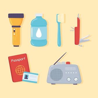 Caricature de kit d'urgence