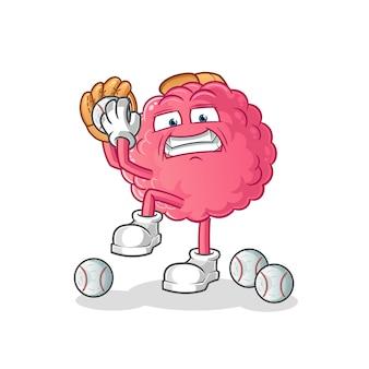 Caricature de lanceur de baseball de cerveau. mascotte de dessin animé