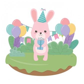 Caricature de lapin avec joyeux anniversaire
