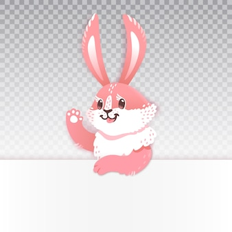 Caricature de lapin mignon, agitant la main. illustration