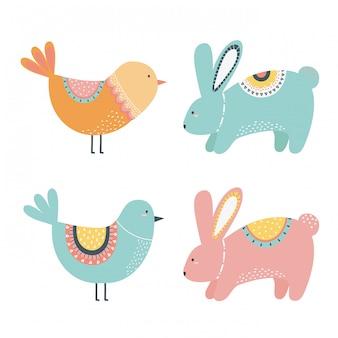 Caricature de lapin et d'oiseau