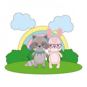 Caricature de lapin et de raton laveur
