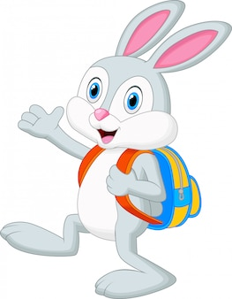 Caricature de lapin avec sac à dos