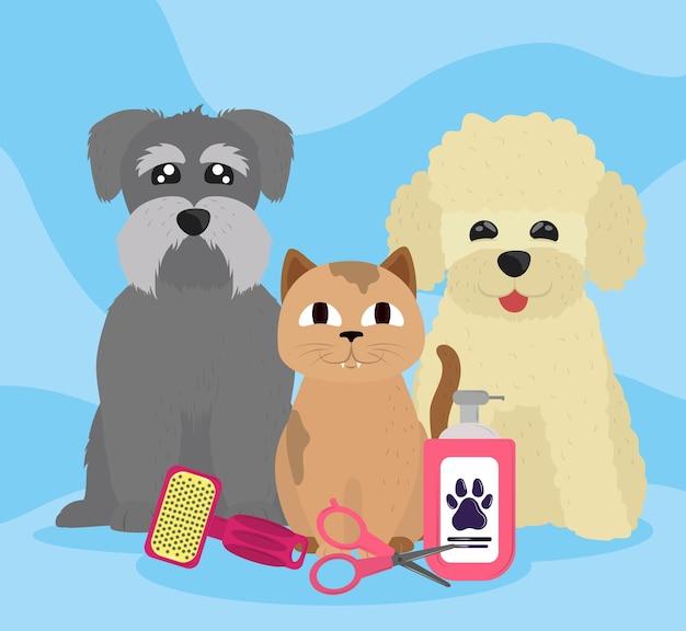 Caricature de lavage d'animaux de compagnie