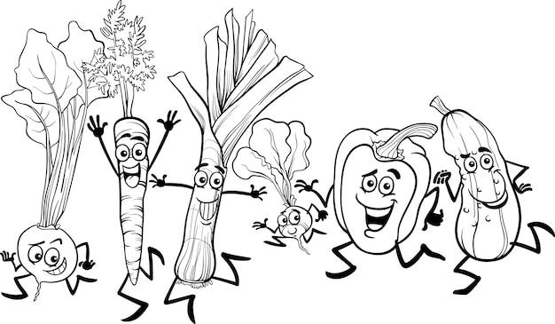 Caricature de légumes en cours d'exécution pour la coloration
