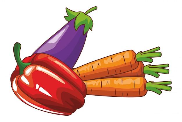 Caricature de légumes frais