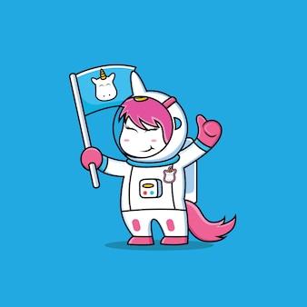 Caricature de licorne astronaute avec fond bleu