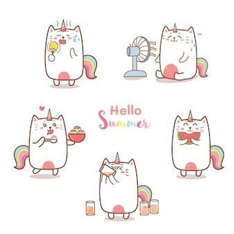 Caricature de licorne chat mignon pour l'été.