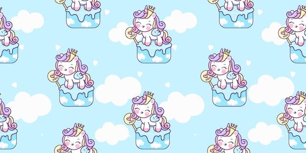Caricature de licorne sans couture sur animal kawaii gâteau d'anniversaire