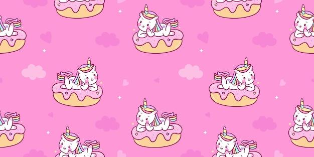 Caricature de licorne sans couture sur dessert sucré