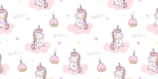 Caricature de licorne sans couture avec motif animal kawaii gâteau d'anniversaire