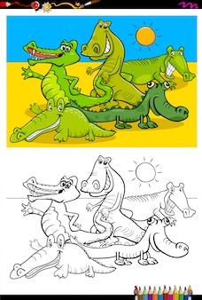 Caricature de livre de coloriage de crocodiles