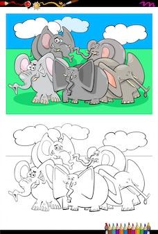 Caricature de livre de coloriage d'éléphants