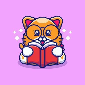 Caricature de livre de lecture de chat mignon