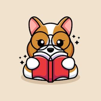 Caricature de livre de lecture de chien mignon