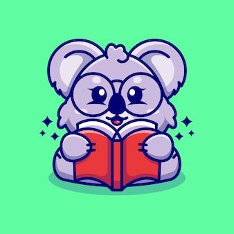Caricature de livre de lecture koala mignon