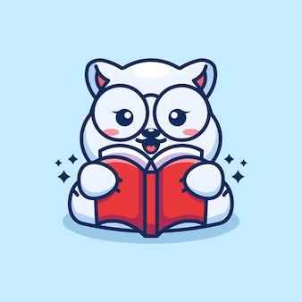 Caricature de livre de lecture mignon ours polaire