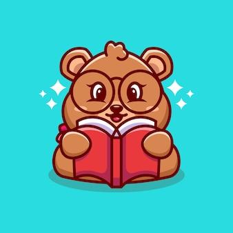 Caricature de livre de lecture ours mignon
