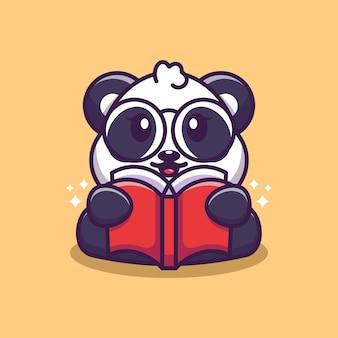 Caricature de livre de lecture panda mignon