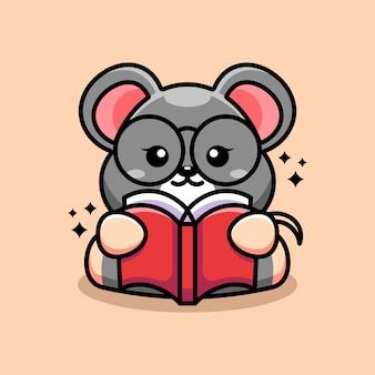 Caricature de livre de lecture souris mignon