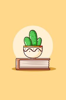 Caricature de livre et de plantes ornementales