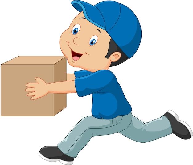 Caricature d'un livreur tenant une boîte