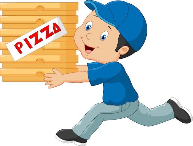 Caricature d'un livreur tenant une pizza