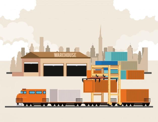 Caricature logistique de marchandises de transport