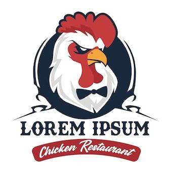 Caricature de logo de restaurant de poulet en vecteur