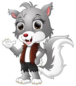 Caricature de loup-garou agitant la main