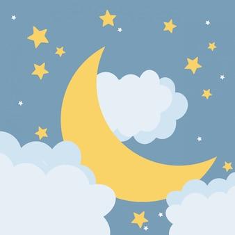 Caricature de lune pendant la nuit